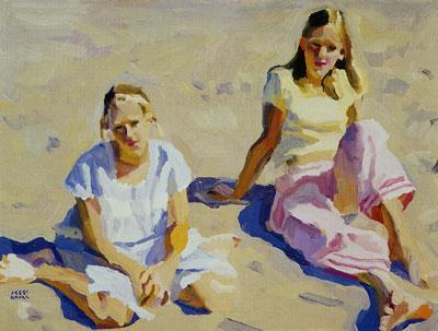 "Peggi Kroll-Roberts, Mary and Ali, oil, 18"" x 24"""
