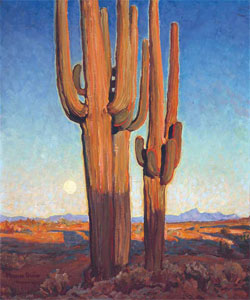 "Maynard Dixon (1875-1946) Saguaros at Sunset, 1925, Oil on Canvas, 30"" x 25"" Private Collection"
