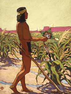 "Maynard Dixon (1875-1946) Guard of the Cornfield, 1921-1922, Oil on Canvas Board, 20"" x 16"" Collection of W. Donald Head, Oil Grandview Ranch"