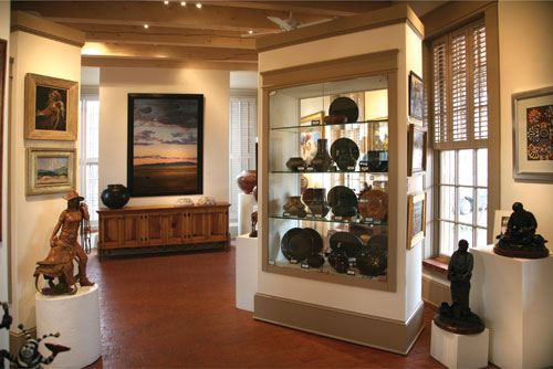 Native American antiques, contemporary paintings and sculpture by nationally acclaimed artists are found in every corner of Medicine Man Gallery Santa Fe. The gallery has a second location in Tucson, Arizona.