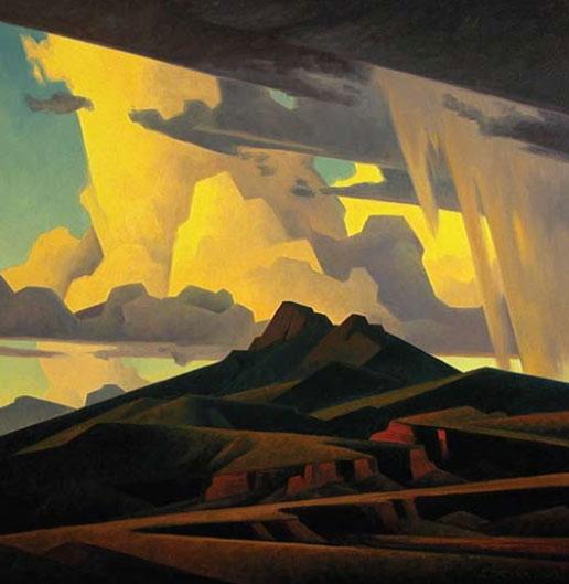 """Ed Mell, High Desert Peaks, oil on linen, 30"""" x 30"""", 2011"""
