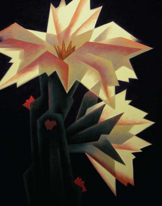 "Ed Mell, Two Blooms, oil on linen, 28"" x 22"", 2011"