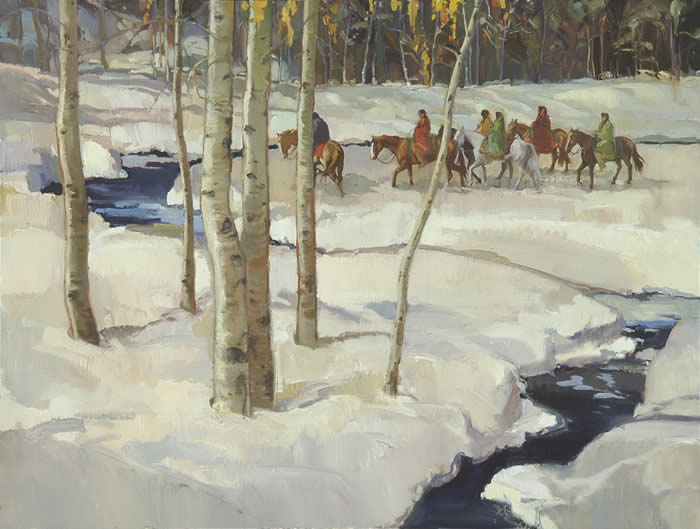 "Francis Livingston, Mid Winter Journey, Oil on Panel, 36"" x 48"""