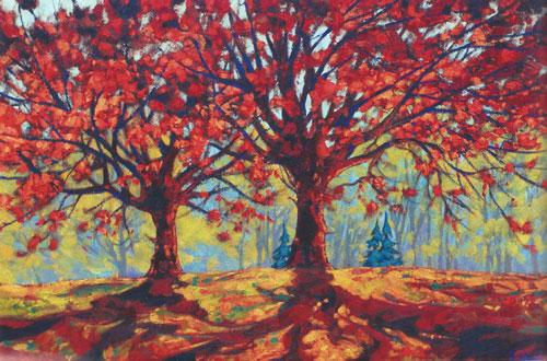 "Dominik Modlinski - Leaves of Autumn, oil on board 20"" x 30"""
