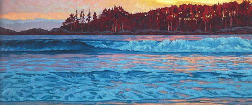"Dominik Modlinski - Western Surf, oil on canvas 32"" x 72"""