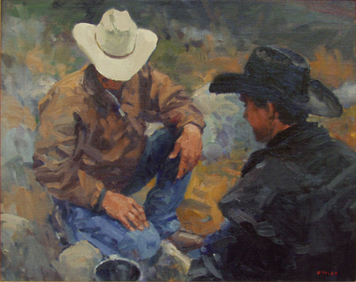 "Gregory Hull, Morning Coffee, Oil on Canvas Board, 16"" x 20"""