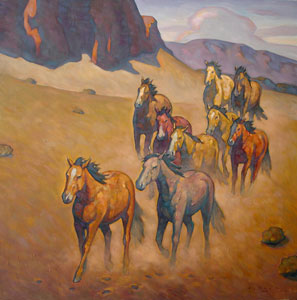 Howard Post, Moving Herd, Oil on Canvas, 24