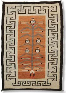 "Navajo Cornstalk Yei textile, c. 1910, 55"" x 38"""