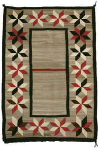 "Navajo Double Saddle Blanket, c. 1915, 50"" x 35"""