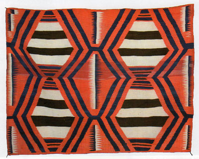 "Navajo Third Phase Chiefs Blanket with Ravelled Bayeta and Indigo, c. 1870, 54"" x 70"""