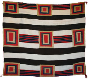 "Navajo Third Phase Chiefs Blanket Variant, c. 1870-80, 59"" x 65"""