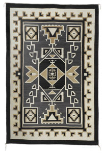 "Daisy Taugelchee, Navajo Two Grey Hills Storm Pattern, c. late 1940, 78"" x 48""  Won first price at the 1957 International Indian Ceremonial in Gallup, New Mexico."