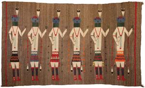 """Navajo Yeibeichei textile, c. 1920, 69"""" x 42"""""""