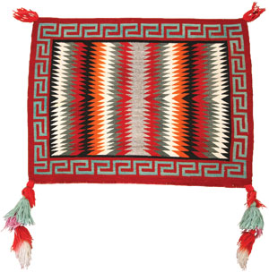 "Navajo Single Saddle Blanket (Fancy), c. 1930, 27"" x 33"""