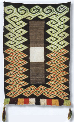 "Navajo Double Saddle Blanket, c. 1920, 49"" x 32"""