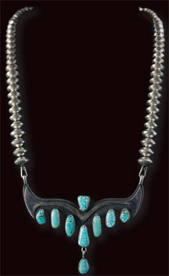 Navajo Silver Necklace with Number 8 Turquoise, c. 1970