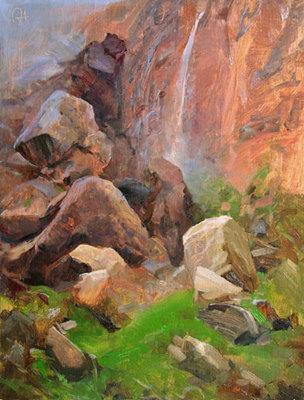 "P. A. Nisbet, Gardens of Gilgamesh, Oil on Panel, 12"" x 9"""
