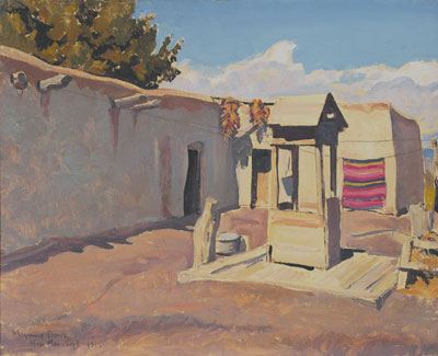 """Maynard Dixon, Old Patio, New Mexico, (September 1931), oil on canvas board, 16 x 20"""""""