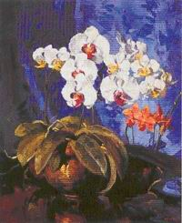 Gregory Hull, Orchid Still Life, Oil 24 x 20