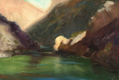 """""""River's Edge, Elves Chasm. Compare this painting to the actual size where it is painted. I will often take substantial liberties with reality in order to emphasize the abstract, or symbolic elements in the scene."""" - P. A. Nisbet"""