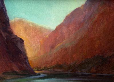 "P. A. Nisbet, Corridor, National Canyon, oil on canvas board, 9"" x 12"""