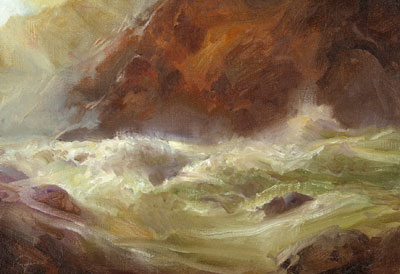 """P. A. Nisbet, Study for Lava Falls, Oil on Canvas on Panel, 9"""" x 12"""""""