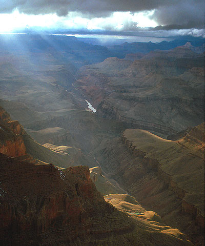 The Grand Canyon viewed from Lipan Point. The Colorado is central to the rock universe it has created. From the south rim the river's fury is all but forgotten, save the whisper of rapids when the wind is in your direction.