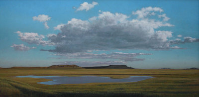 Jeff Aeling, Pond and Clouds Near Raton, NM, Oil on Panel, 36