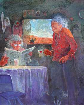 Shonto Begay, Grandmother's Love Cup, Acrylic on Canvas, 42
