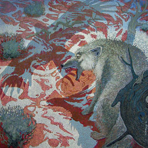 Shonto Begay, Drama Upon the Thaw, Acrylic on Canvas 46