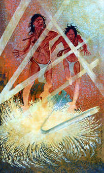 Shonto Begay, Ascent of the Hero Twins, Acrylic on Canvas, 40