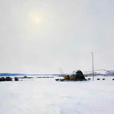 """Josh Elliott, Big Sky February, Oil on Panel, 36"""" x 36"""""""