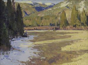 "Josh Elliott, Spring Shadows, Oil on panel, 9"" x 12"""