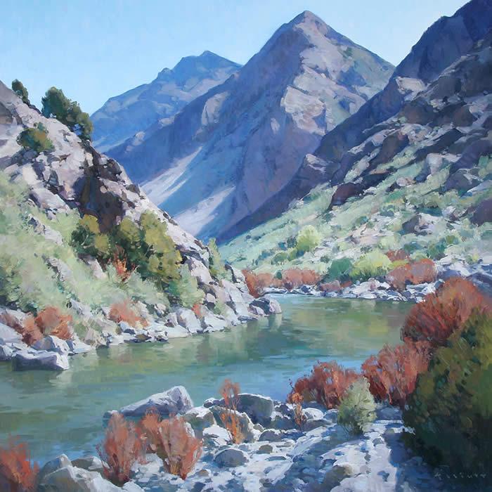 "Josh Elliott, Rio Grande Spring , Oil on Board, 36"" x 36"""