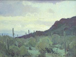 "Josh Elliott, Picacho Sunrise, Oil on panel, 9"" x 12"""