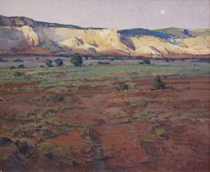 "Josh Elliott, Last Light Ghost Ranch, Oil on panel, 20"" x 24"""