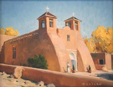 """Josh Elliott, Autumn, Ranchos de Taos, Oil on Panel, 11"""" x 14"""""""