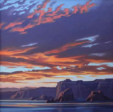 "Ed Mell, Powell's Sunset, oil on canvas, 48"" x 48"""