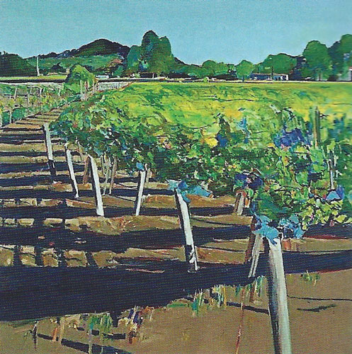 """Gregory Kondos, Rutherford Vineyard, 1989, oil on canvas, 88""""x88"""""""
