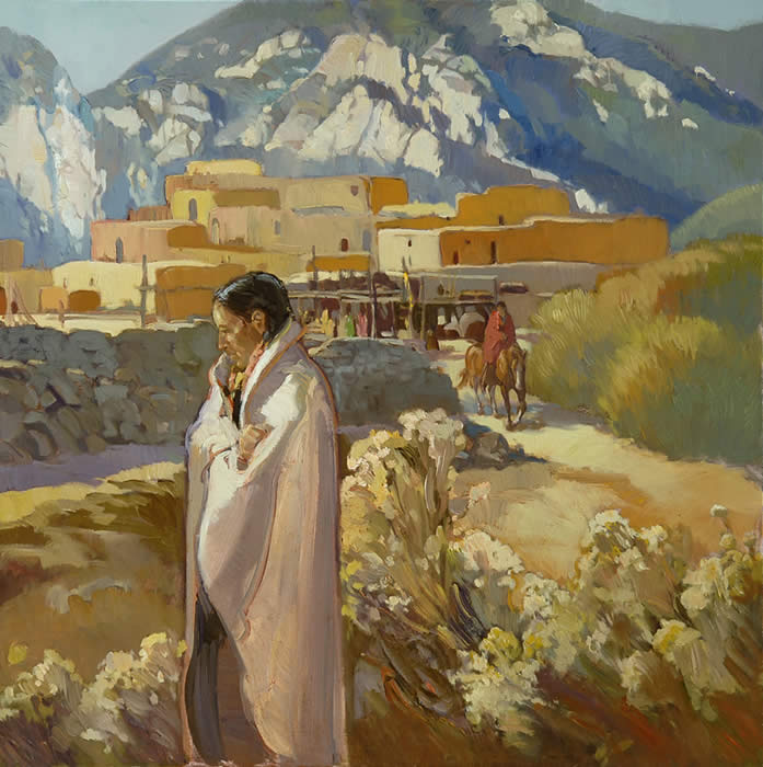 "Francis Livingston, Pueblo Trail, Oil on Panel, 27"" x 27"""
