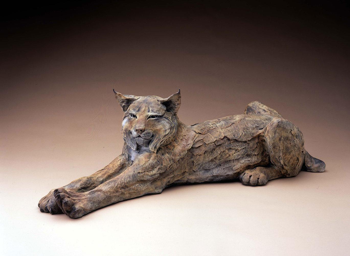 """Star Liana York, Purrfectly Lazy Days, Bronze, 11"""" x 36"""""""