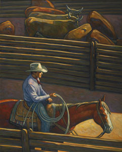 "Howard Post, Red Bandana, Oil on Canvas, 48"" x 60"""