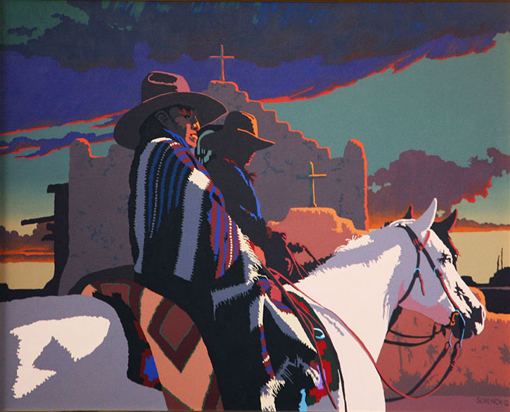 "Billy Schenck, Riders at taos, oil on canvas, 40""x50"""