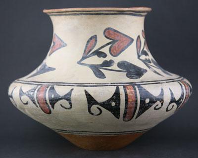 "San Ildefonso Pueblo, polychrome jar, c. 1900-1910, 10"" x 12"""