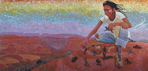 Shonto Begay, Composing My World, acrylic on canvas, 24