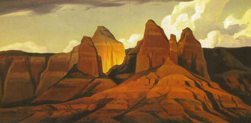 Ed Mell, Sedona Shadows, 2004, oil on linen, 15