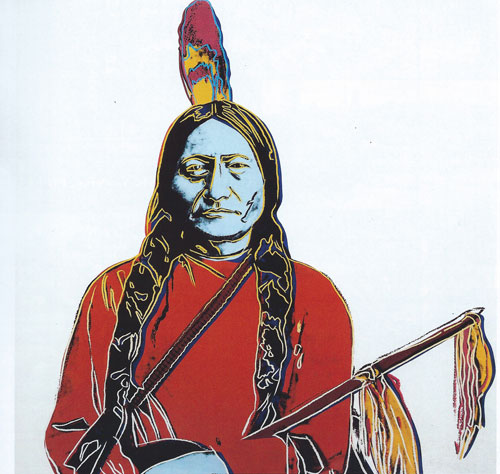 "Andy Warhol, Sitting Bull, 1986, serigraph on paper, 36""x36"""