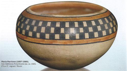 "Maria Martinez (1887-1980), San Ildefonso Polychrome Jar, ca. 1925, 2-7/8""x5"", signed: ""Marie"""