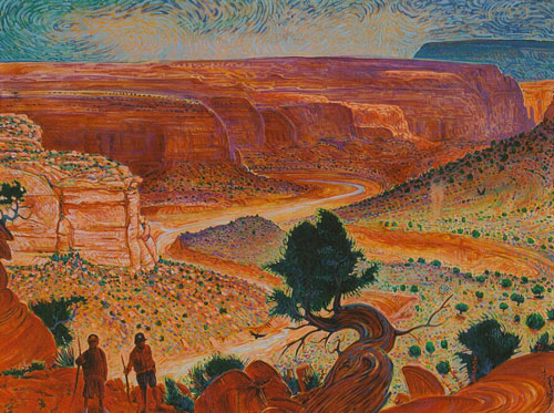 Shonto Begay, Dante and Salvador on the Keet Seel Trail, acrylic on canvas, 36
