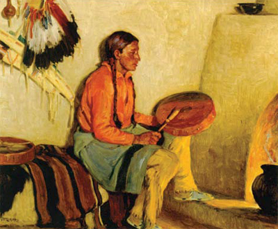 "J.. H. Sharp, The Drum Song, oil, 20"" x 24""  Collection of Ray Harvey"
